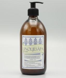 Glasburk med lavendel linoljesåpa