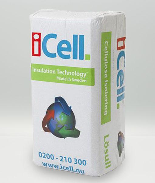 Icell cellulosaisolering lösull isolering byggnaddsvård klimatsmart