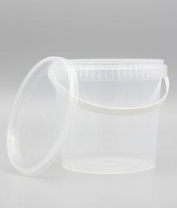 hink i genomskinlig plast med handtag och lock