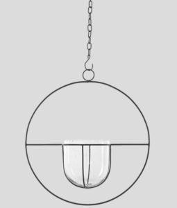 ampel i glaskruka med stålring och tillhörande kedja för upphängning